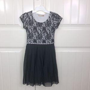 Speechless Girls Black Lace Cap Sleeve Party Dress